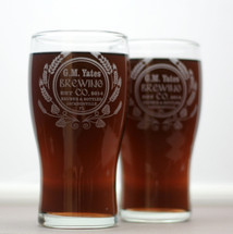 Engraved Pilsner Glasses with Personalized Modern Hops and Wheat Design (Set of 2)