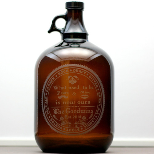 Engraved Gallon Growler  Personalized with Now Ours & Beer Types Circle Design