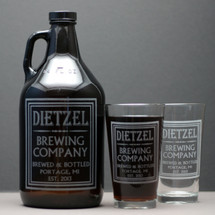 Engraved 64oz Growler and 2 Pint Glass Set Personalized with Old School Brewing Label Design