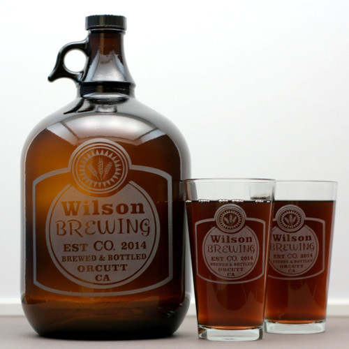Engraved Personalized Gallon Growler & 2 Pint Glass Set with Classy Home Brew Label
