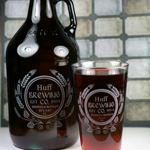 Engraved 64oz Growler & 2 Pint Glass Set with Personalized Modern Hops and Wheat Home Brew Design Close Up