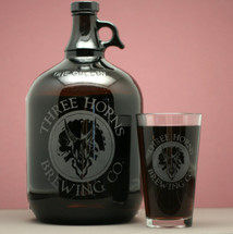 Engraved Gallon or 64oz Growler & Pint Glass with Custom Beer Logo Design