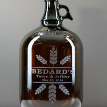 Wheat Crowns Art Personalized 128oz growler and 2 pint Glass Set