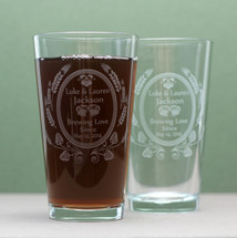 Personalized Wedding Gift, Engraved Wedding Gift, Personal Gift, Home Brew Wedding, Custom Pint Glass, Custom Glassware