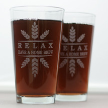 Pint Glasses Engraved with Personalized RELAX Have a Homebrew Wheat Crown (Set of 2)