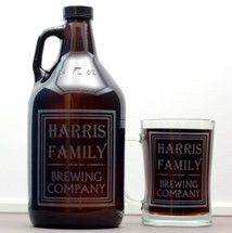 Personalized 64oz Growler and 2 Beer Steins Set Engraved with Simple Old School Family Name Design