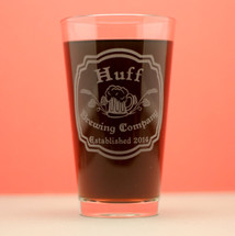 Engraved Personalized HomeBrew Pints with Art Nouveau Design (Set of 2)