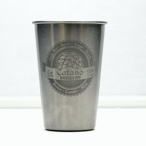 Stainless Steel Pint Engraved & Personalized with Double Hop & Banner with Beer Names