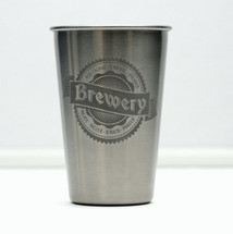Stainless Steel Pint Engraved with Personalized Brewery Banner & Beer Names