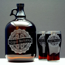 Engraved Gallon Growler & 2 Pilsner Glass Set Personalized with Irish Celtic Knot Brewing Label