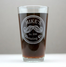 Mustache Gift, Engraved Gift, Engraved Pint Glass, Etched Gift, Movember Gift, Custom Glassware