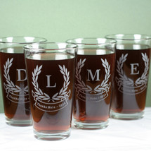 Engraved Personalized Pint Glass Etched with Initials & Laurel Leaves Banner Design (Set of  4)