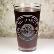 Personalized Pint Glass Engraved with Circle Hops Banner