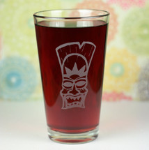 Etched Sandblasted Pint Glass Angry Tiki Sun God