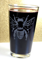 Engraved Sandblast Etched Pint Glass with Bee
