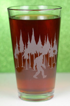 Engraved Pint Glass|Bigfoot in the Trees|Bigfoot Gift|Engraved Gift|Personalized Gift|Etched Gift|Engraved Glassware|Custom Gift|Etched Glassware|Custom Glassware|Personalized Glassware|Personalized Pint Glass|Personalized Promotional Products|Glass Blasted