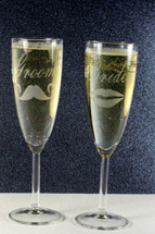Engraved Bride and Groom Tapered Champagne Flutes with Mustache and Kiss (Set of 2)