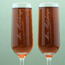 Engraved Modern Wedding Champagne Flutes with Bride and Groom Newlywed Name Design (Set of 2)