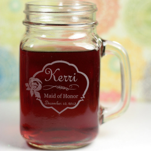 Engraved Bridesmaid Orchid Themed Personalized Mason Jar Mugs (Set of 4)