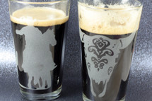 Etched Pint Glass Set with Cow Skull & Cowboy on Horse