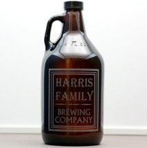 Personalized & Engraved 32oz Mini Growler with Family Name Brewing Company Design