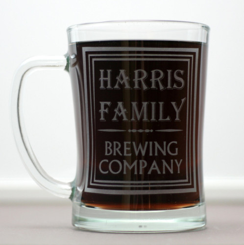 Engraved Beer Mugs Personalized with Family Name Brewing Company Design (Set of 2)