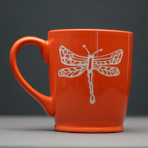 Engraved Ceramic Coffee Mug with Dragonfly Circle and Lines Design