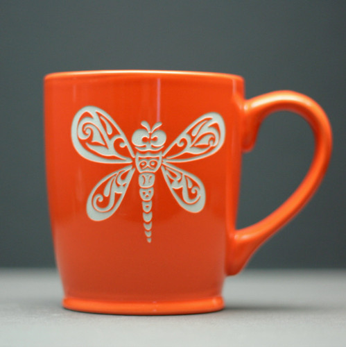 Ceramic Coffee Mug Engraved with Dragonfly Tribal Swirl Design
