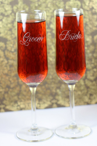 Modern Champagne Flutes Engraved with Fancy Script Bride & Groom (Set of 2)