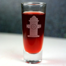 Engraved Shooter Shot Glass Etched with Fire Hydrant