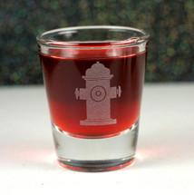 Engraved Whiskey Shot Glass with Fire Hydrant Fireman or Firefighter Gift