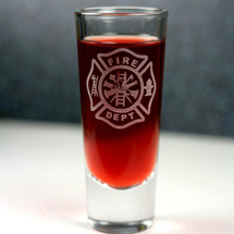 Engraved Shooter Shot Glass with Firefighter Maltese Cross Design