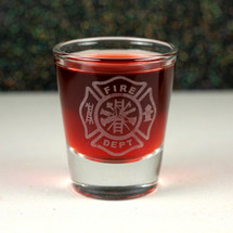 Engraved Whiskey Shot Glass with Firefighter Maltese Cross Design