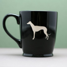 Black Ceramic Coffee Mug Engraved with Greyhound Dog
