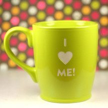 Engraved I Heart Me! sandblasted Ceramic Coffee Mug