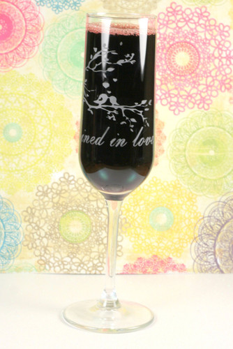 Champagne Modern Flutes Engraved with Love birds Joined in Love  (Set of 2)