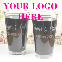 Your Engraved Logo Etched Engraved Pint Glass (Set of 2)