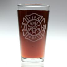 Firefighting Maltese Cross Engraved Pint Glass