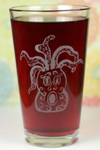 Engraved Medusa Octopus Tiki Etched Sandblasted Pint Glass