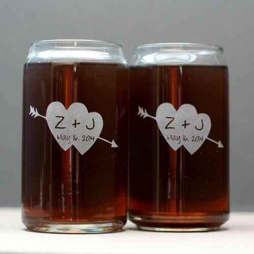 Engraved Can Glasses with Arrowed Double Heart and Initials (Set of 2)