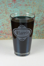 Pint Glass Personalized Name Engraved with Classy Label
