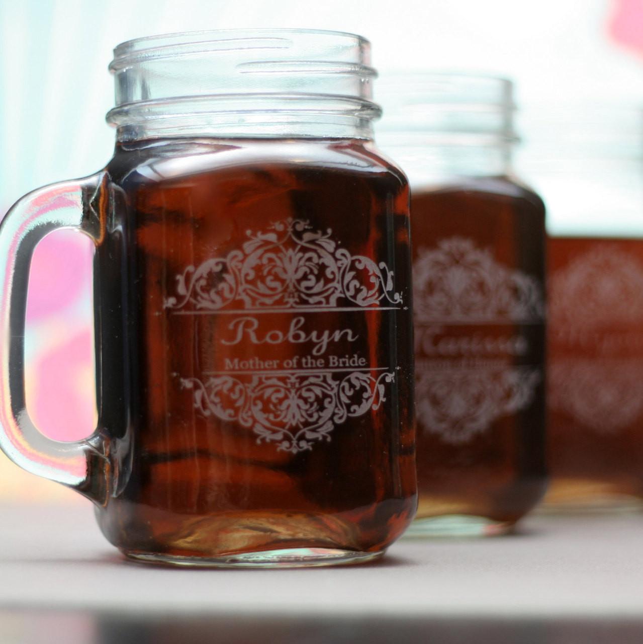 Baroque Wedding Theme Personalized Mason Jar Mugs Set Of 4