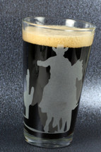 Engraved SALE  Cowboy on horse sandblasted Etched Pint Glass