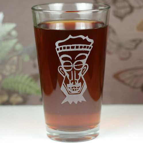 Sandblasted Engraved Pint Glass with Soul Man Tiki with Goatee