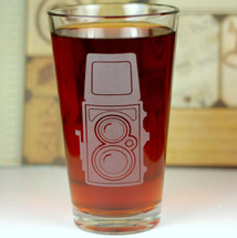 Engraved Pint Glass with Vintage Brownie Camera Etched Sandblasted