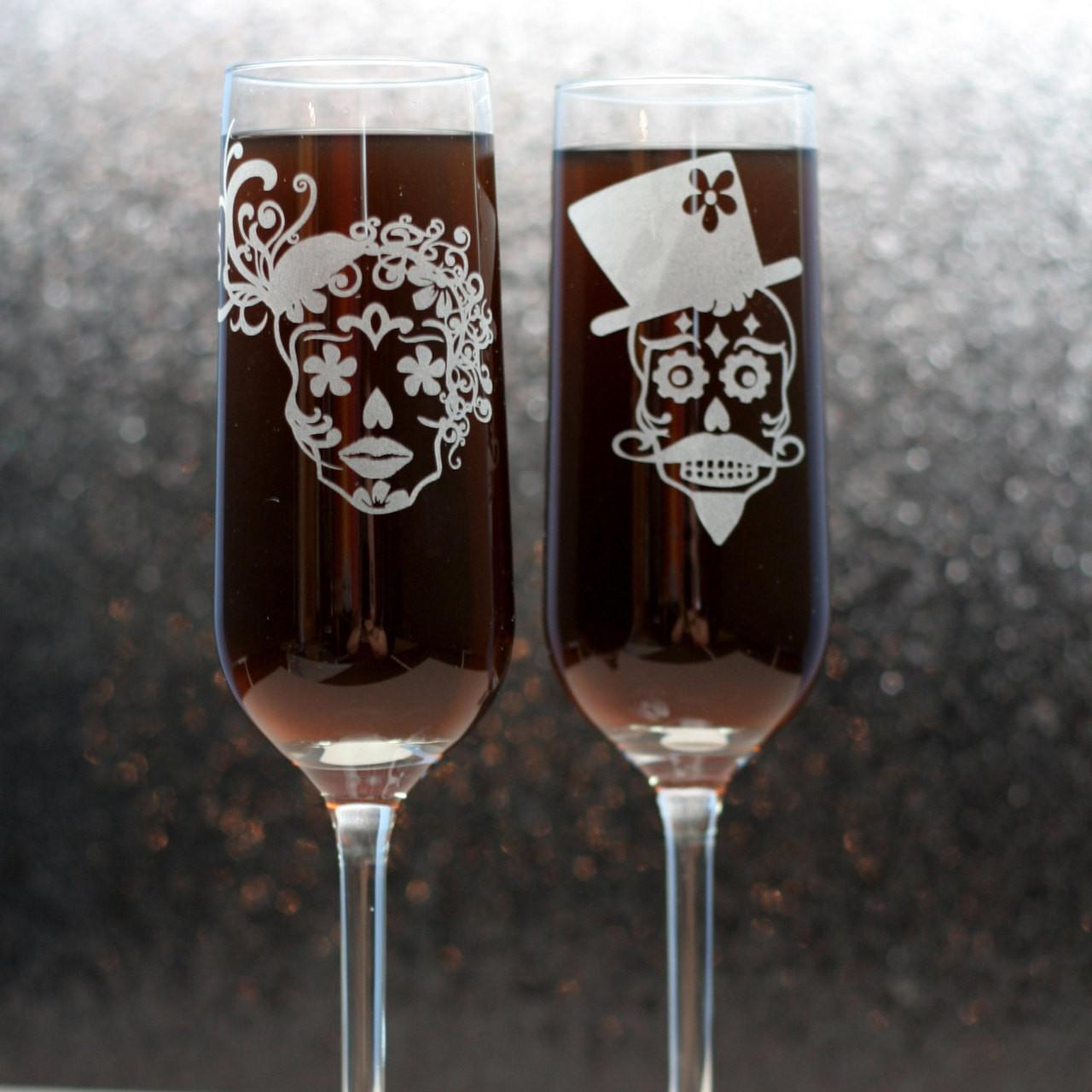Wedding Gift Champagne Flutes: Sugar Skull Couple Engraved Wedding Champagne Flutes
