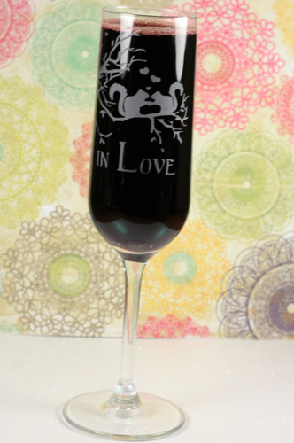 Engraved Modern Champagne Flutes with in Squirrels Joined in Love Wedding Design