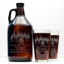 Engraved 64oz Growler and 2 Pint Glass Set Personalized with Sasquatch Brewing Co.