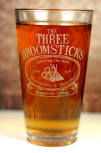 Three Broomsticks Harry Potter inspired glass