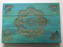 Wood Mandala Art Laser Engraved - Custom Colored